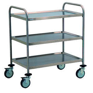 TEC1101 - stainless steel cart with 3 shelves molded