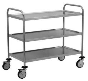 TEC1107 - carrito de acero inoxidable con 3 estantes moldeados