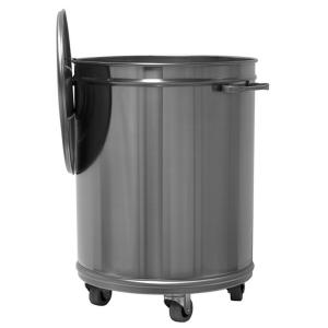 MC1002 Pattumiera carrellata rotonda inox AISI 304-  75 litri