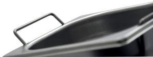 GST1/2P200M Récipient Gastronorm 1 / 2 H200 avec des poignées en acier inox AISI 304