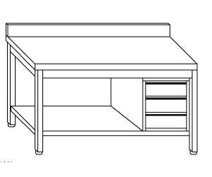 TL5174 Tavolo da lavoro in acciaio inox AISI 304 cassettiera dx alzatina ripiano 180x60x85