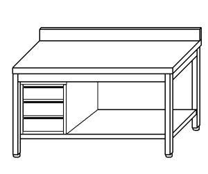 TL5187 Tavolo da lavoro in acciaio inox AISI 304 cassettiera sx alzatina ripiano 150x60x85