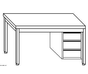TL5223 Tavolo da lavoro in acciaio inox AISI 304 cassettiera dx alzatina ripiano 190x70x85