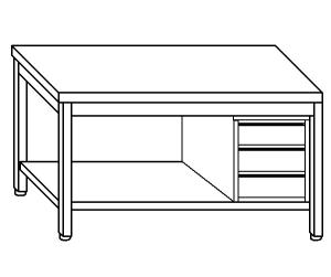TL5271 Tavolo da lavoro in acciaio inox AISI 304 cassettiera dx ripiano 190x70x85