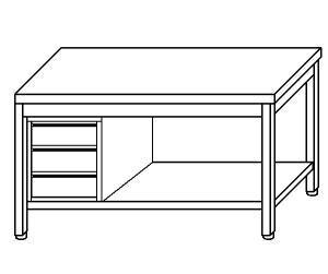 TL5287 Tavolo da lavoro in acciaio inox AISI 304 cassettiera sx ripiano 190x70x85