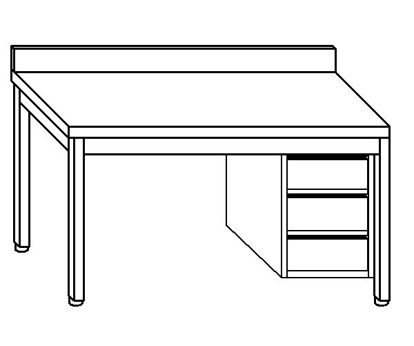 Tavolo da lavoro in acciaio inox AISI 304 su gambe con alzatina e cassettiera DX