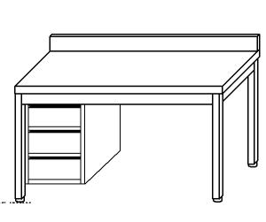 TL5329 Tavolo da lavoro in acciaio inox AISI 304 cassettiera sx alzatina 130x70x85