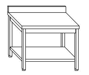 TL5347 Tavolo da lavoro in acciaio inox AISI 304 alzatina ripiano 150x70x85