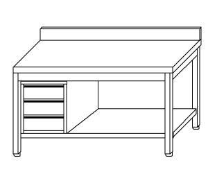 TL5371 Tavolo da lavoro in acciaio inox AISI 304 cassettiera sx alzatina ripiano 70x70x85