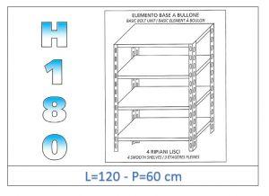 IN-1846912060B Scaffale a 4 ripiani lisci fissaggio a bullone dim cm  120x60x180h