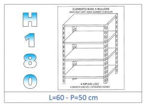 IN-184696050B Scaffale a 4 ripiani lisci fissaggio a bullone dim cm 60x50x180h
