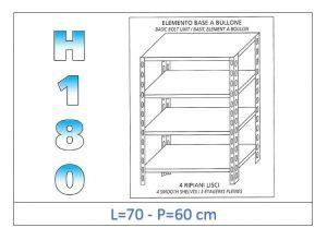 IN-184697060B Scaffale a 4 ripiani lisci fissaggio a bullone dim cm 70x60x180h