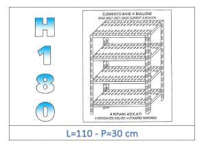 IN-1847011030B Scaffale a 4 ripiani asolati fissaggio a bullone dim cm 110x30x180h