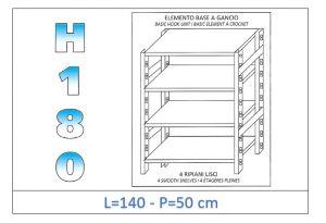 IN-18G46914050B Scaffale a 4 ripiani lisci fissaggio a gancio dim cm 140x50x180h