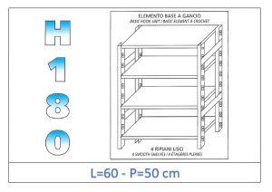 IN-18G4696050B Scaffale a 4 ripiani lisci fissaggio a gancio dim cm 60x50x180h