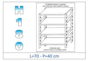 IN-18G4697040B Scaffale a 4 ripiani lisci fissaggio a gancio dim cm 70x40x180h