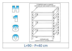 IN-18G4699040B Scaffale a 4 ripiani lisci fissaggio a gancio dim cm 90x40x180h