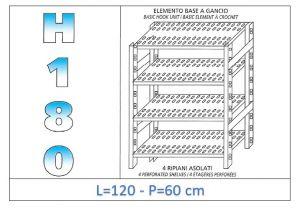 IN-18G47012060B Scaffale a 4 ripiani asolati fissaggio a gancio dim cm 120x60x180h