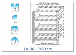 IN-18G47013060B Scaffale a 4 ripiani asolati fissaggio a gancio dim cm 130x60x180h