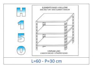 IN-B3696030B Scaffale a 3 ripiani lisci fissaggio a bullone dim cm 60x30x150h