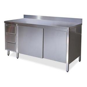 TA4130 Tavolo armadio in acciaio inox con porte su un lato, alzatina e cassettiera SX 140x70x85