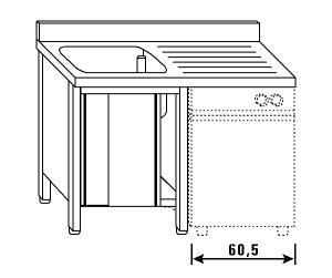 LT1180 Lavatoio su armadio per lavastoviglie 1 vasca 1 sgocciolatoio dx alzatina ante scorrevoli 140x60x85
