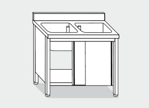 LT1009 Lavatoio su Armadio in acciaio inox 2 vasche 1 sgocciolatoio dx alzatina 120x60x85