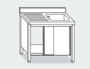 EU01602-13 lavatoio armadio ECO cm 130x60x85h  1 vasca e sg sx - porte scorrevoli