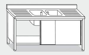EU01613-20 lavatoio armadio ECO cm 200x60x85h  2 vasche e 2 sgocciolatoi - porte scorrevoli