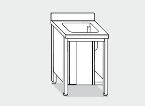 EU01700-08 lavatoio armadio ECO cm 80x70x85h  1 vasca - porte scorrevoli