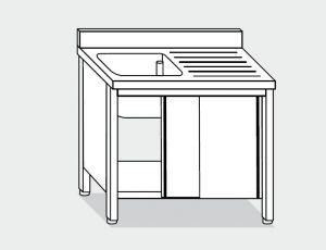 EU01701-12 lavatoio armadio ECO cm 120x70x85h  1 vasca e sg dx - porte scorrevoli