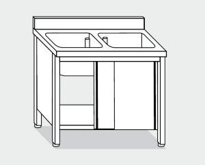 EU01710-14 lavatoio armadio ECO cm 140x70x85h  2 vasche - porte scorrevoli
