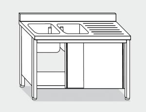 EU01711-20 lavatoio armadio ECO cm 200x70x85h  2 vasche e sg dx - porte scorrevoli