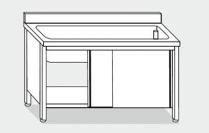 EU01720-10 lavapentole armadio ECO cm 100x70x85h  tutta vasca - porte scorrevoli