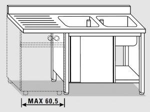 EU01912-16 lavatoio armadio per lavast. ECO cm 160x60x85h  2v e sg sx - porte scorrevoli