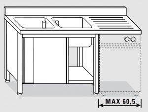 EU01961-18 lavatoio armadio per lavast. ECO cm 180x70x85h  2v e sg dx - porte scorrevoli