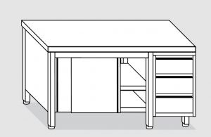 EU04101-20 tavolo armadio ECO cm 200x70x85h  piano liscio - porte scorr - cass 3c dx