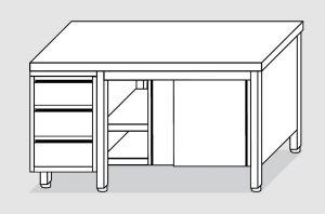 EU04102-15 tavolo armadio ECO cm 150x70x85h  piano liscio - porte scorr - cass 3c sx