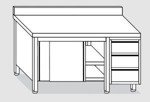 EU04103-14 tavolo armadio ECO cm 140x70x85h  piano alzatina - porte scorr - cass 3c dx