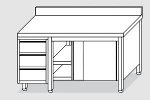 EU04104-18 tavolo armadio ECO cm 180x70x85h  piano alzatina - porte scorr - cass 3c sx