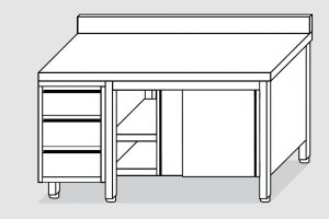 EU04104-21 tavolo armadio ECO cm 210x70x85h  piano alzatina - porte scorr - cass 3c sx