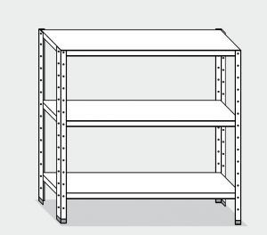 EU77466-16 scaffale con 3 ripiani lisci ECO cm 160x60x150h