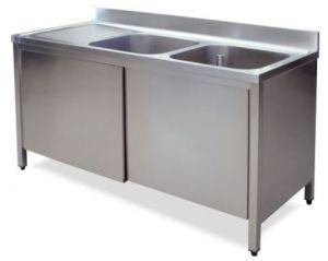 LT1021 Lavatoio su Armadio in acciaio inox 2 vasche 1 sgocciolatoio sx alzatina 200x60x85