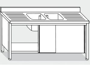 LT1050 Lavatoio su Armadio in acciaio inox 2 vasche 2 sgocciolatoi alzatina 190x70x85
