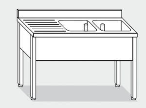 LT1079 Lavatoio su Gambe in acciaio inox 2 vasche 1 sgocciolatoio sx alzatina 190x60x85h
