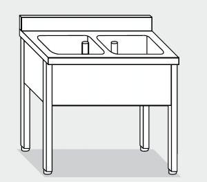 LT1100 Lavatoio su Gambe in acciaio inox 2 vasche alzatina 130x70x85