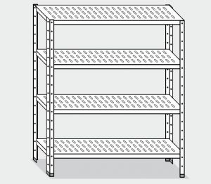 EU78263-16 scaffale con 4 ripiani forati ECO cm 160x30x180h