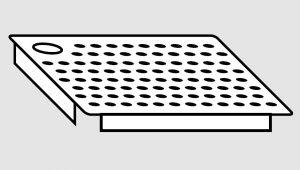 EU91101-04 Falsofondo in acciaio inox forato a destra cm 50x40 per vasche