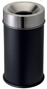 T770051 Gettacarte antifuoco corpo metallo nero testa inox 50 litri
