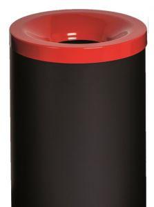 T770027 Gettacarte antifuoco corpo metallo nero coperchio Rosso 90 litri